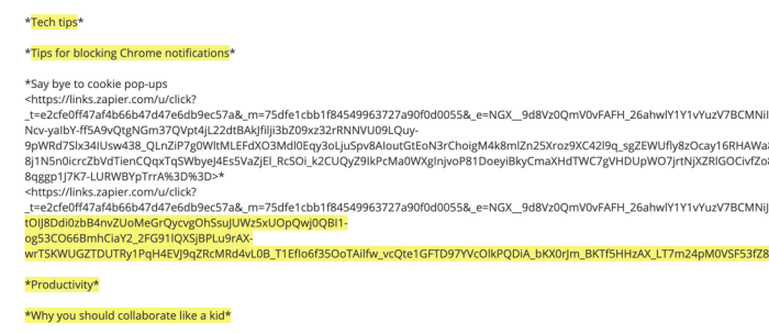 Email text with some sections highlighted in yellow by Email Parser
