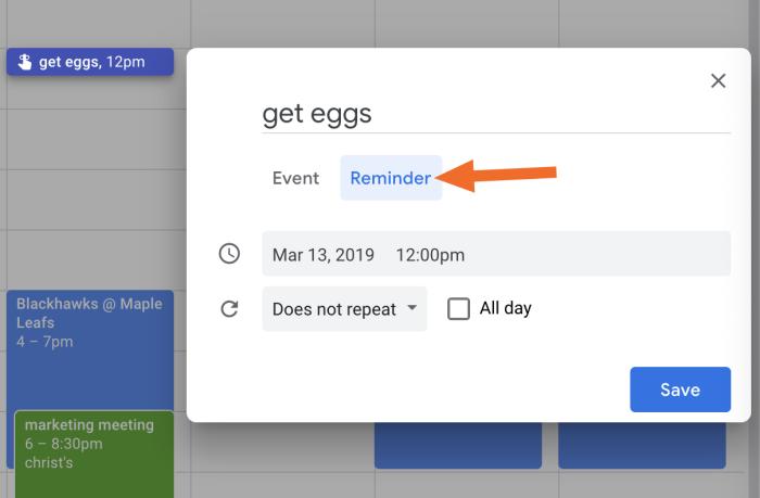 Google Calendar add Reminder