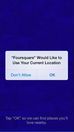 Foursquare app permission