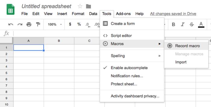 Google Sheets Macros