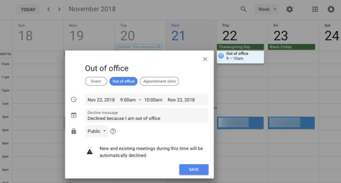 Google Calendar out of office