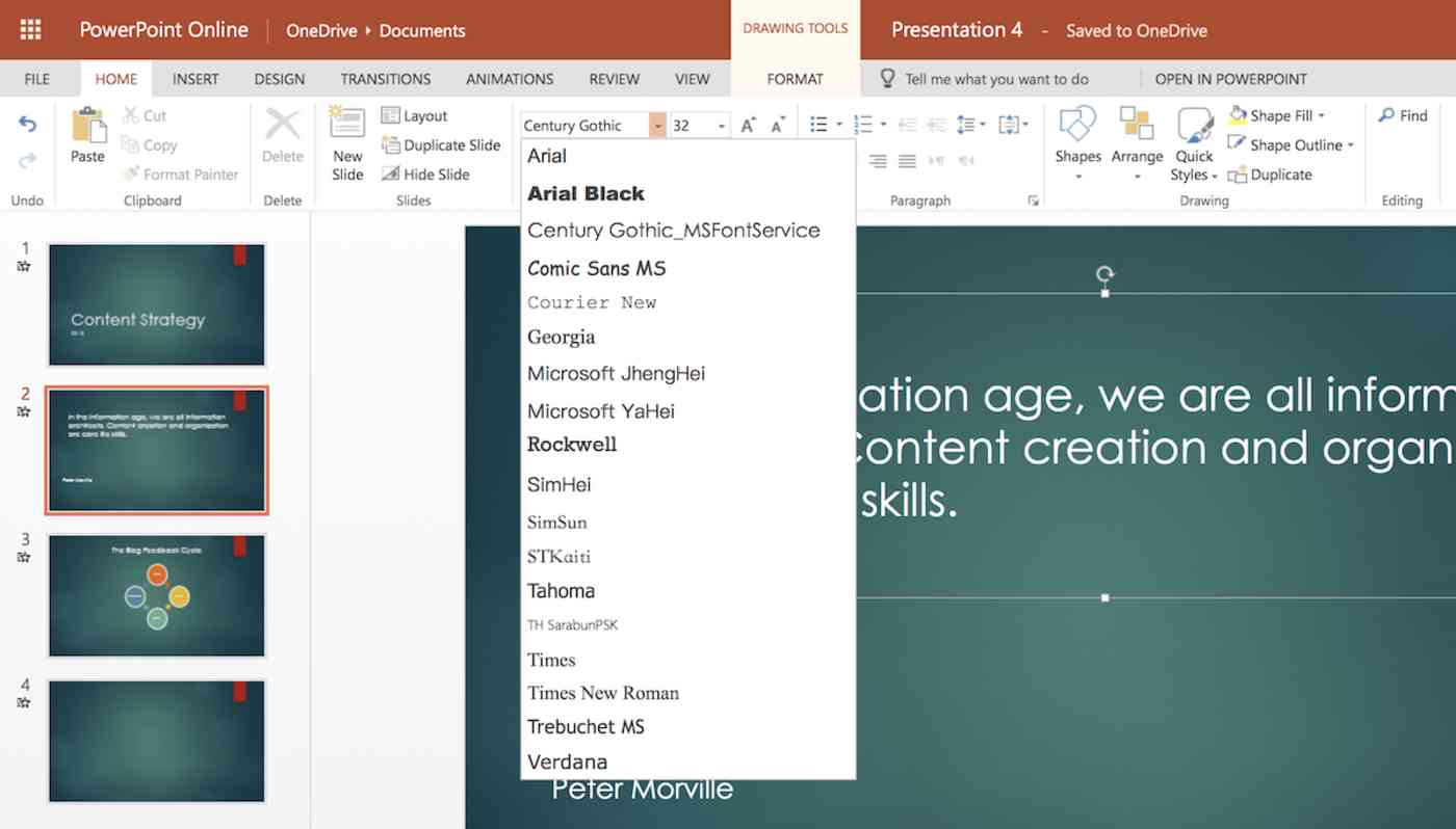 PowerPoint Online Fonts