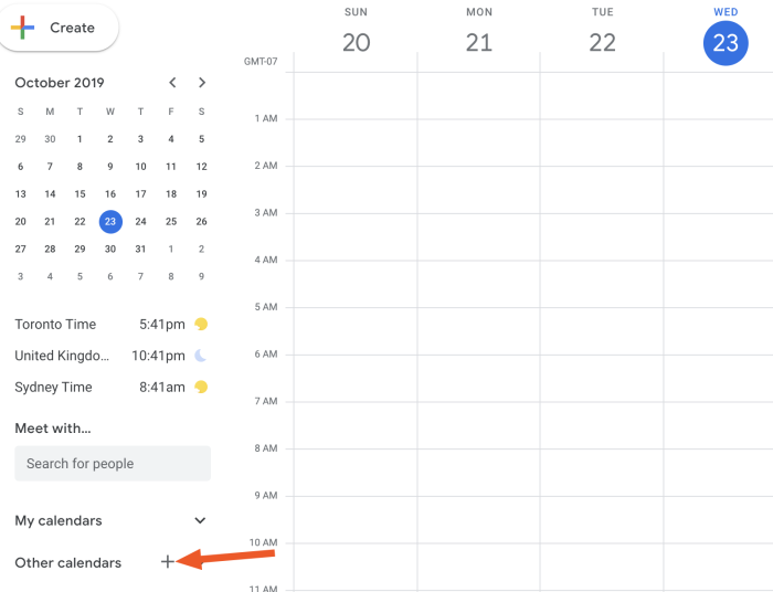 + button in Google Calendar