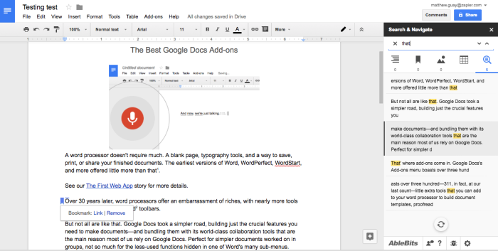 Search and Navigate Google Docs