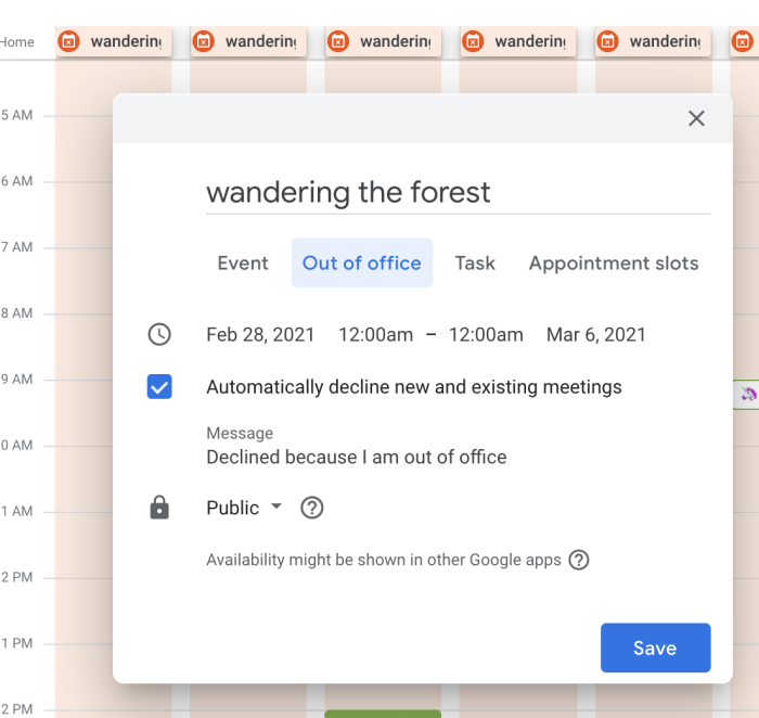 The Out of Office options in Google Calendar, including the option to add a personalized message