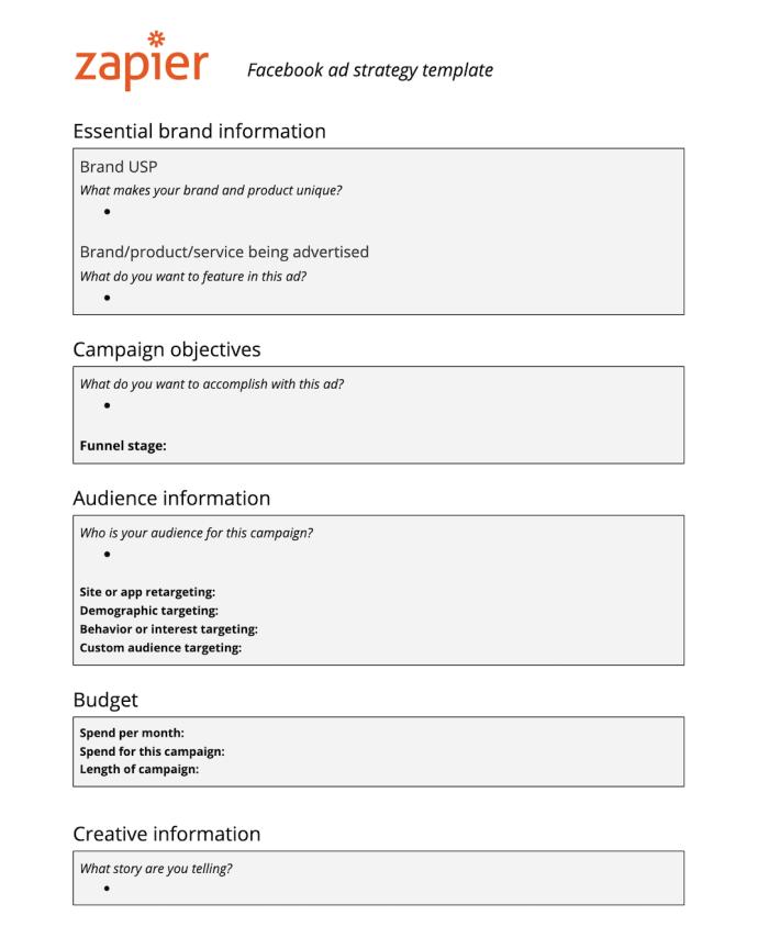 Zapier's Facebook ad strategy template