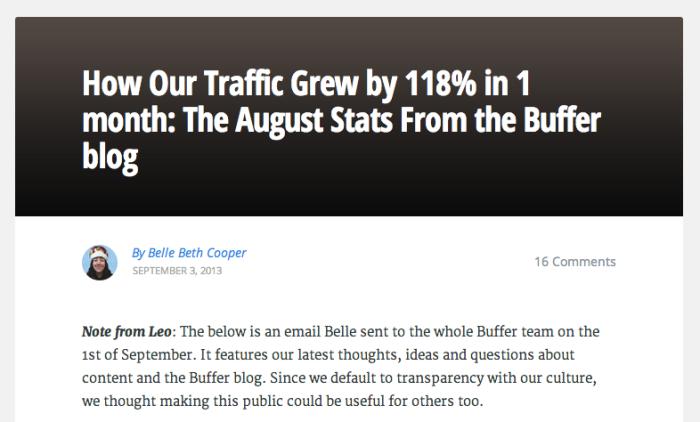 Buffer blog stats