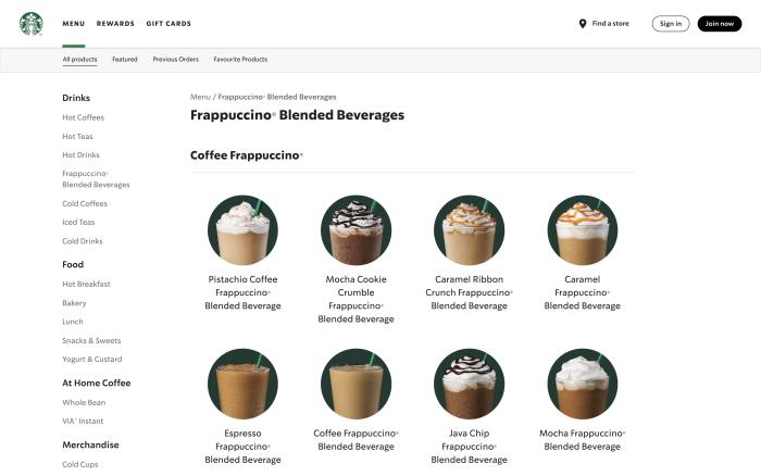 A screenshot from the Starbucks menu