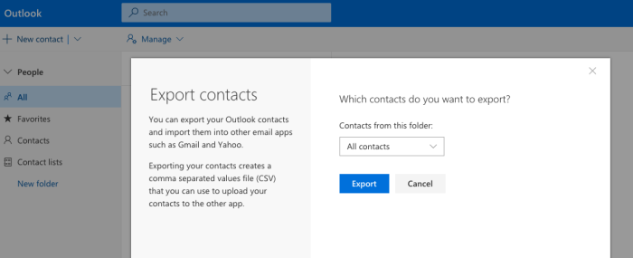 Export contacts from Outlook.