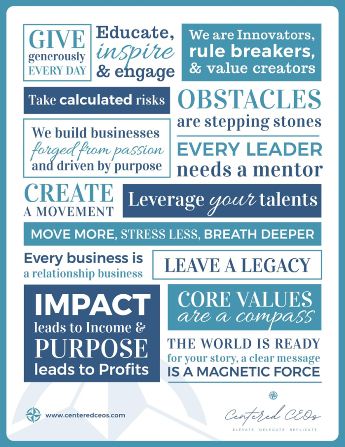 Values written out on a professionally designed poster