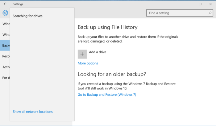 Windows File History Backup