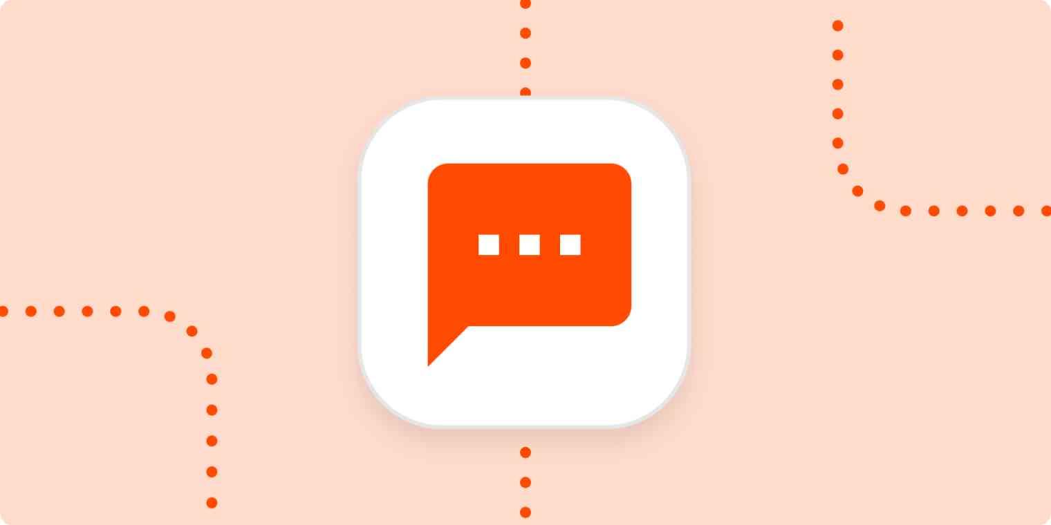 An orange SMS message icon in a white box on a light orange background.