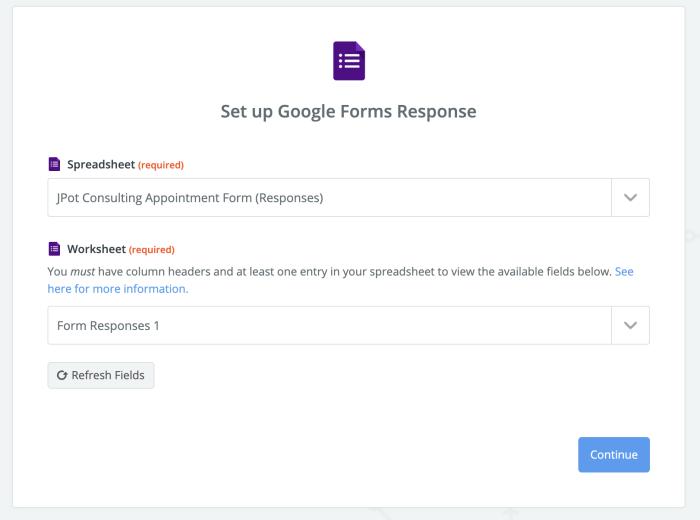 Google Forms choose spreadsheet and worksheet