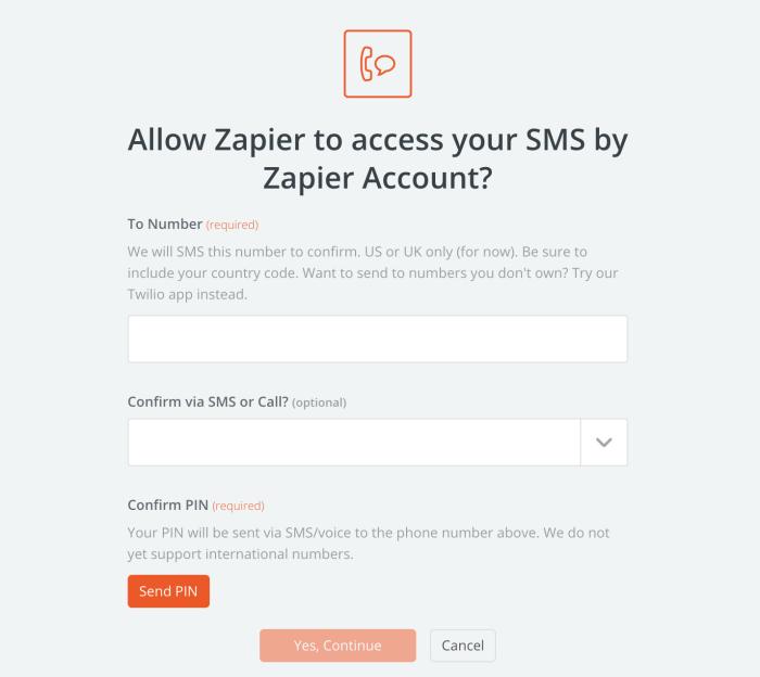 Configuración de SMS de Zapier