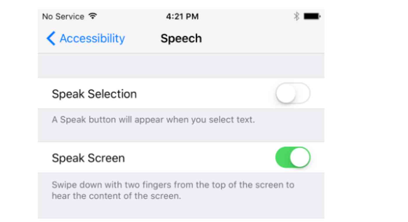 Turn on speak screen in iOS