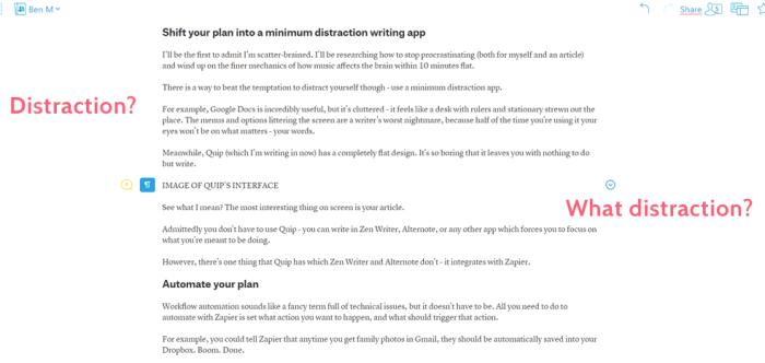Quip writing app