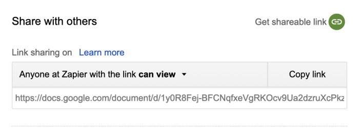 Google Docs URL for sharing