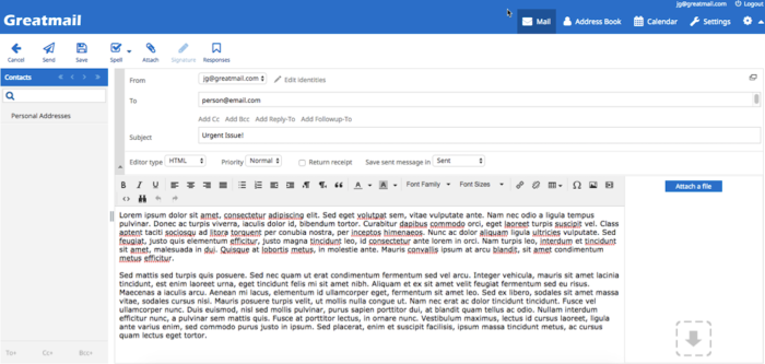 Greatmail webmail interface