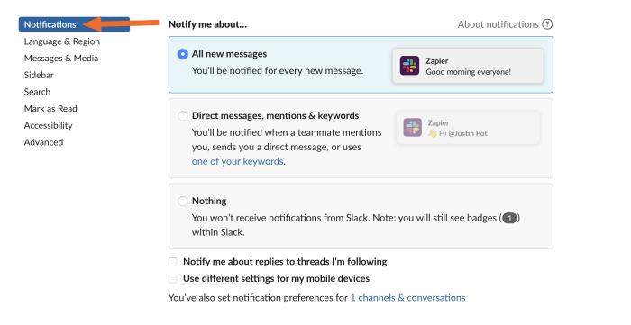 Configuración de notificaciones de holgura