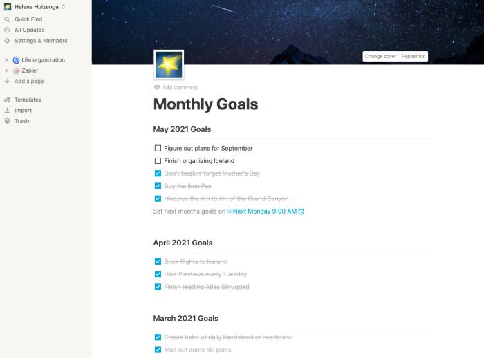 Ellie's monthly goals