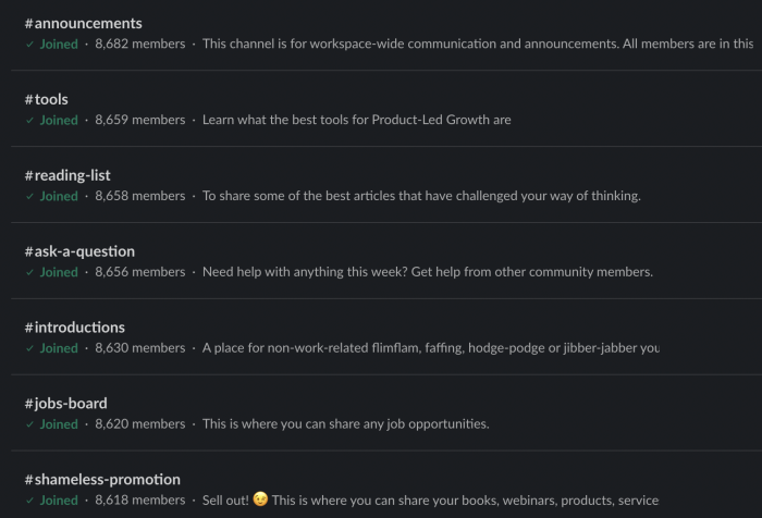 Screenshot of the channels from the Product-Led Growth Communities Slack