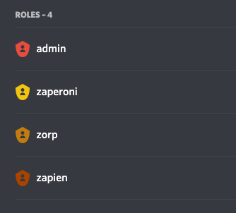 A screenshot of Discord's role settings. Four roles in various colors are listed: admin, Zaperoni, Zorp, and Zapien.