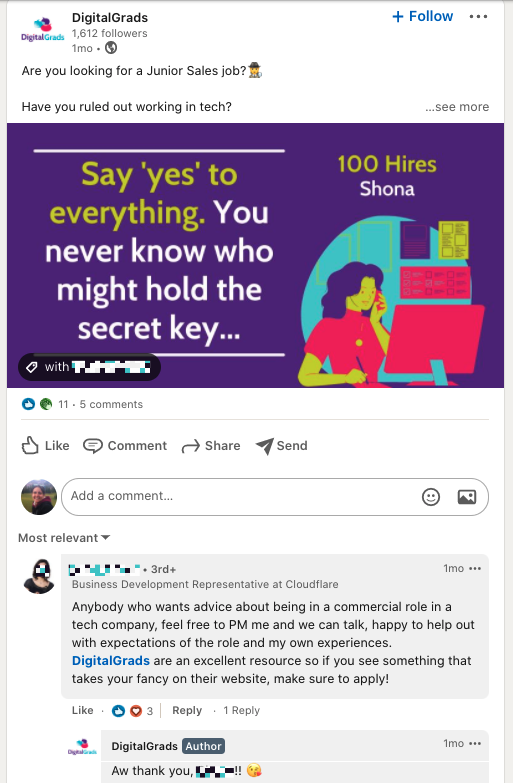 A comment on LinkedIn from someone featured in a case study