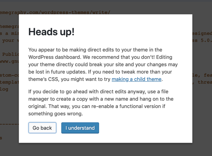 Theme editing WordPress dialogue box