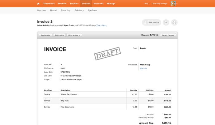 Harvest invoice design