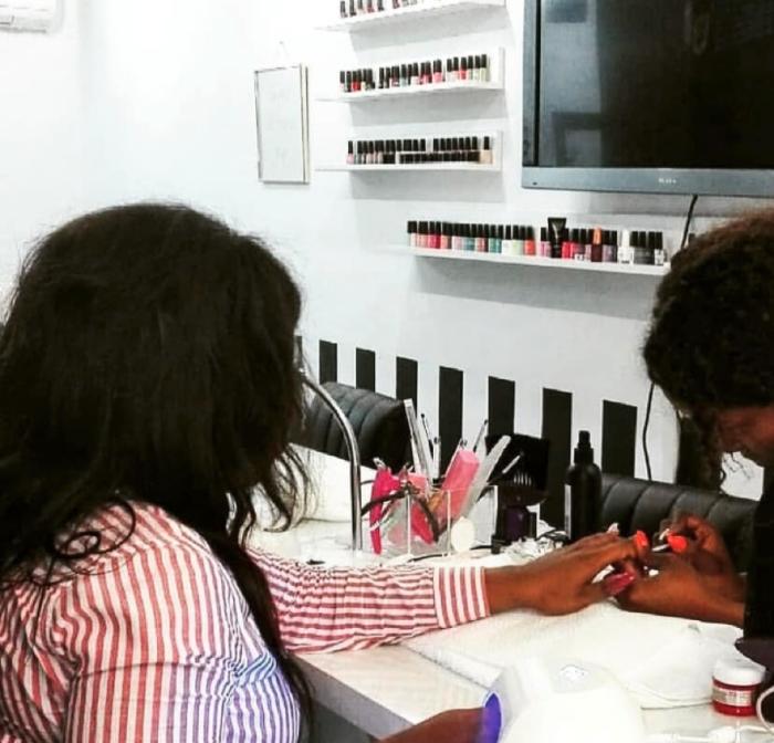 Judith doing a gel manicure