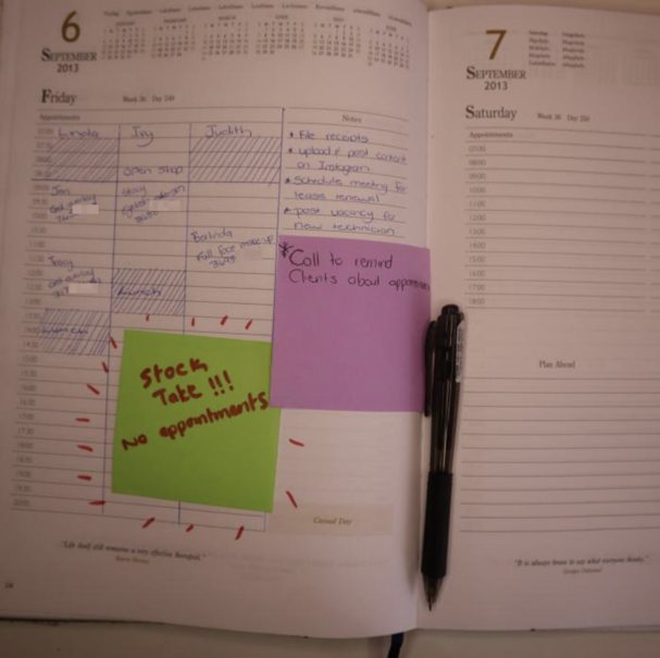 A picture of Judith's diary she used for client relationships