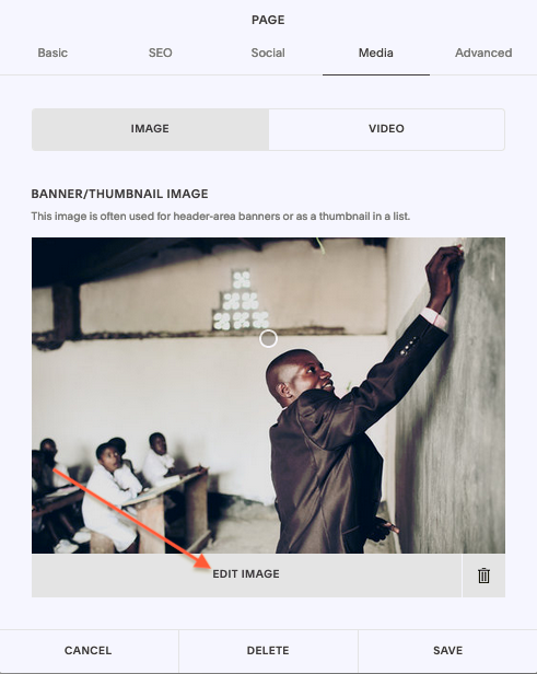 Editing images in Squarespace