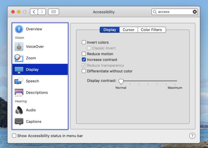 Increased contrast in macOS
