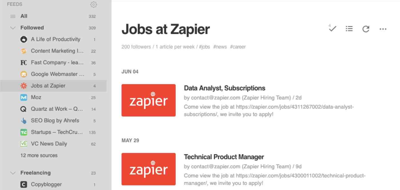Zapier job openings RSS feed