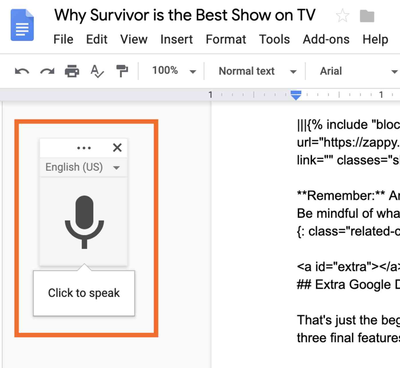 Microphone icon in Google Docs
