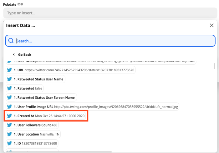 A screenshot of the Pubdate field. Under the Insert Data... dropdown menu, the Created At option is highlighted.