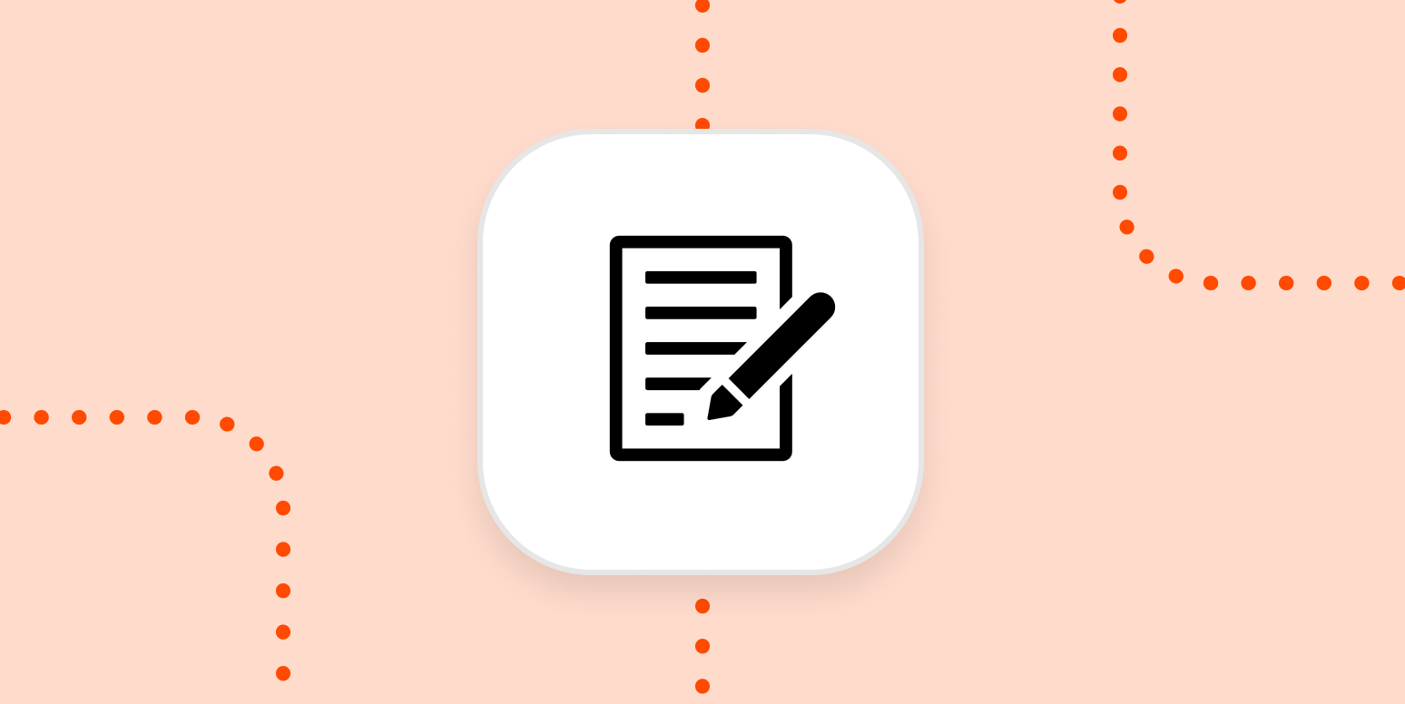 An icon of a notepad with pen on an orange background