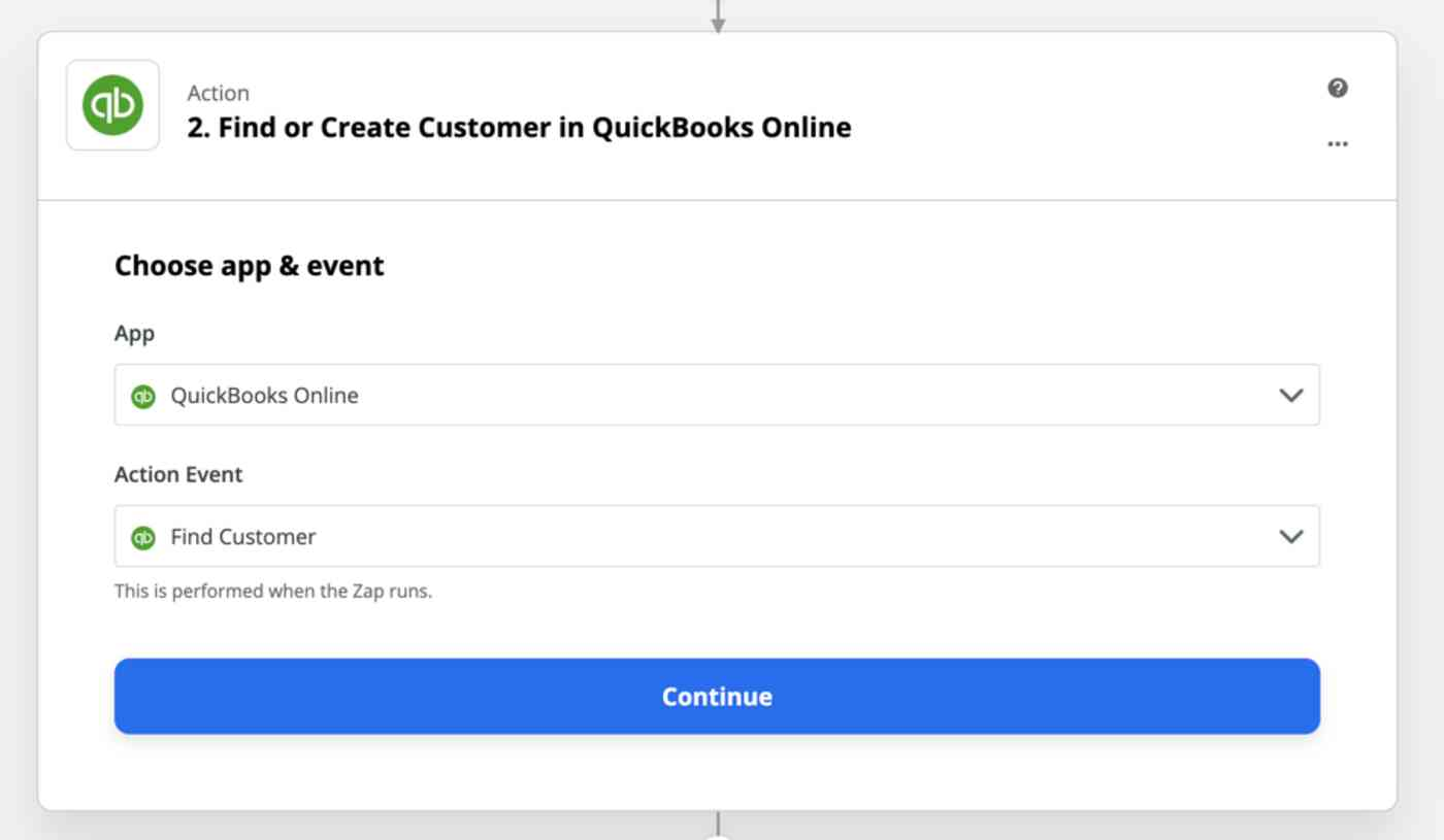 Action set-up: 2. Find or Create Customer in QuickBooks Online