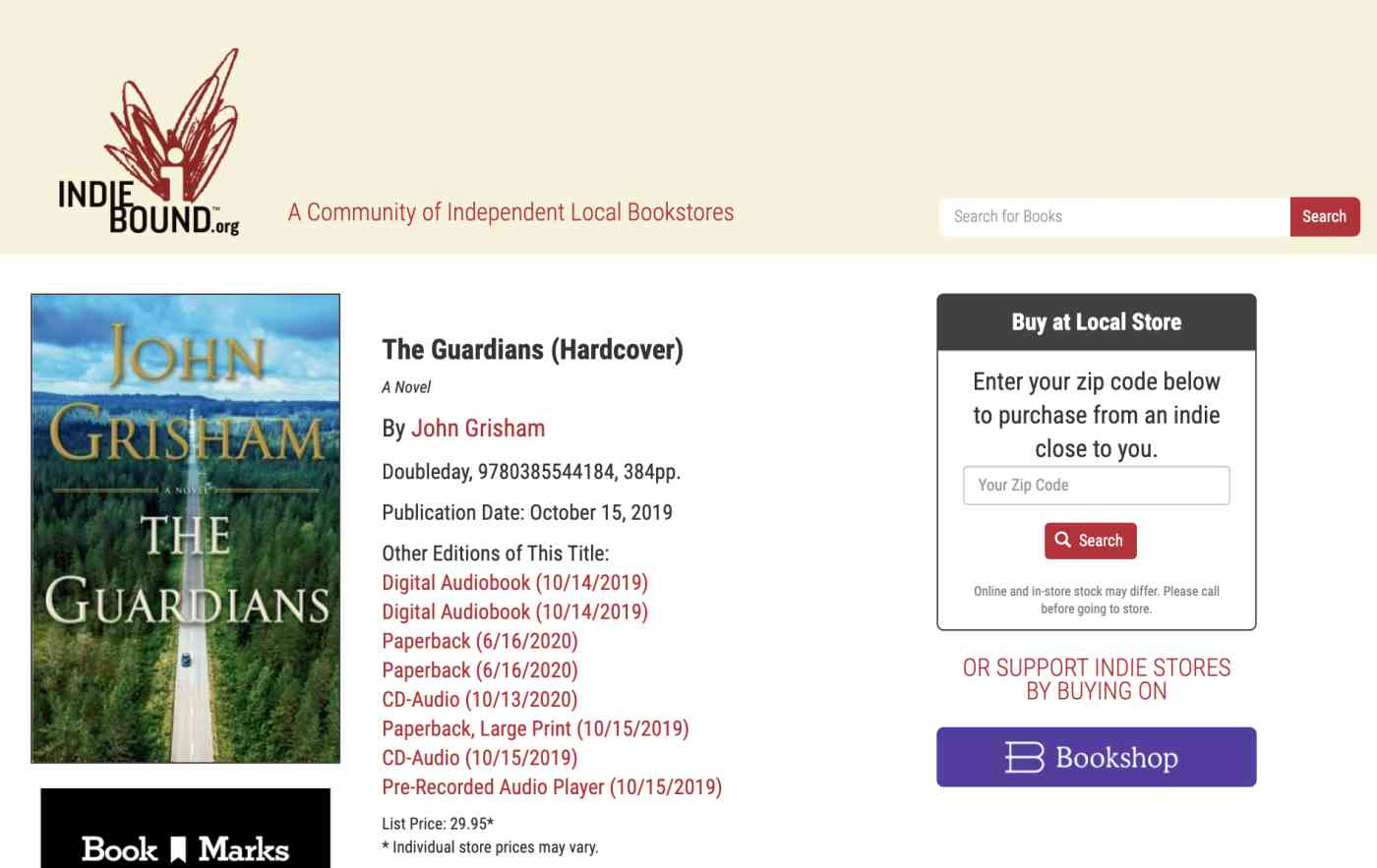 screenshot of indie bookstore selling The Guardians by John Grisham