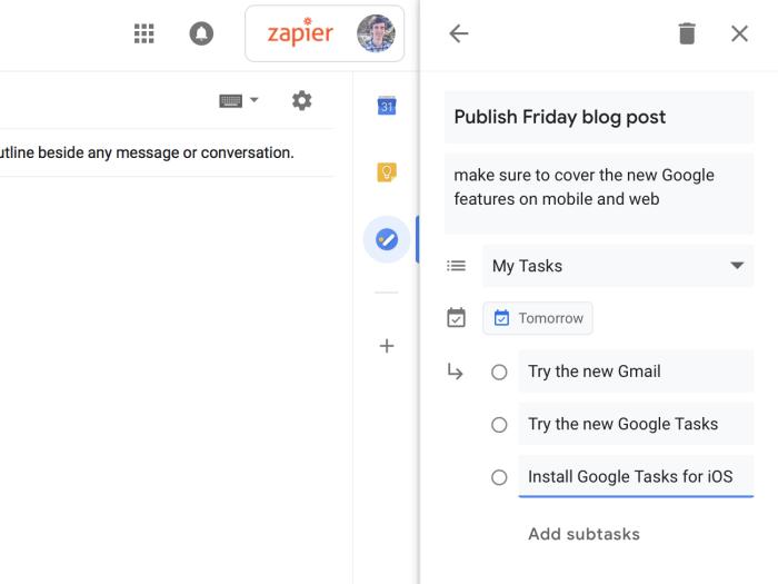 Detalles de tareas de Google