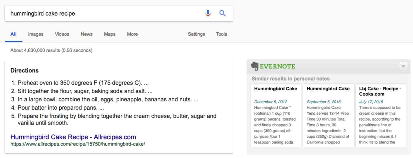 Evernote integration on web searches, 2018