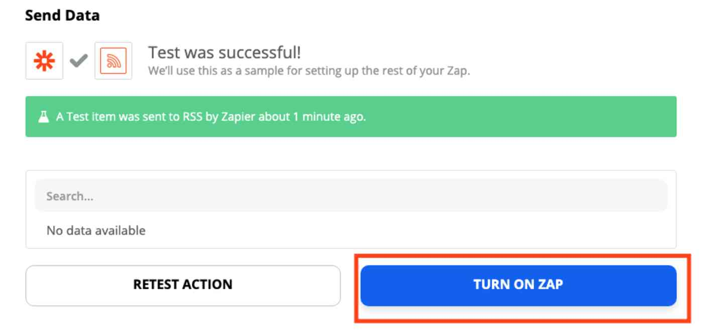 A screenshot of the Zap editor with the Turn on Zap button highlighted.