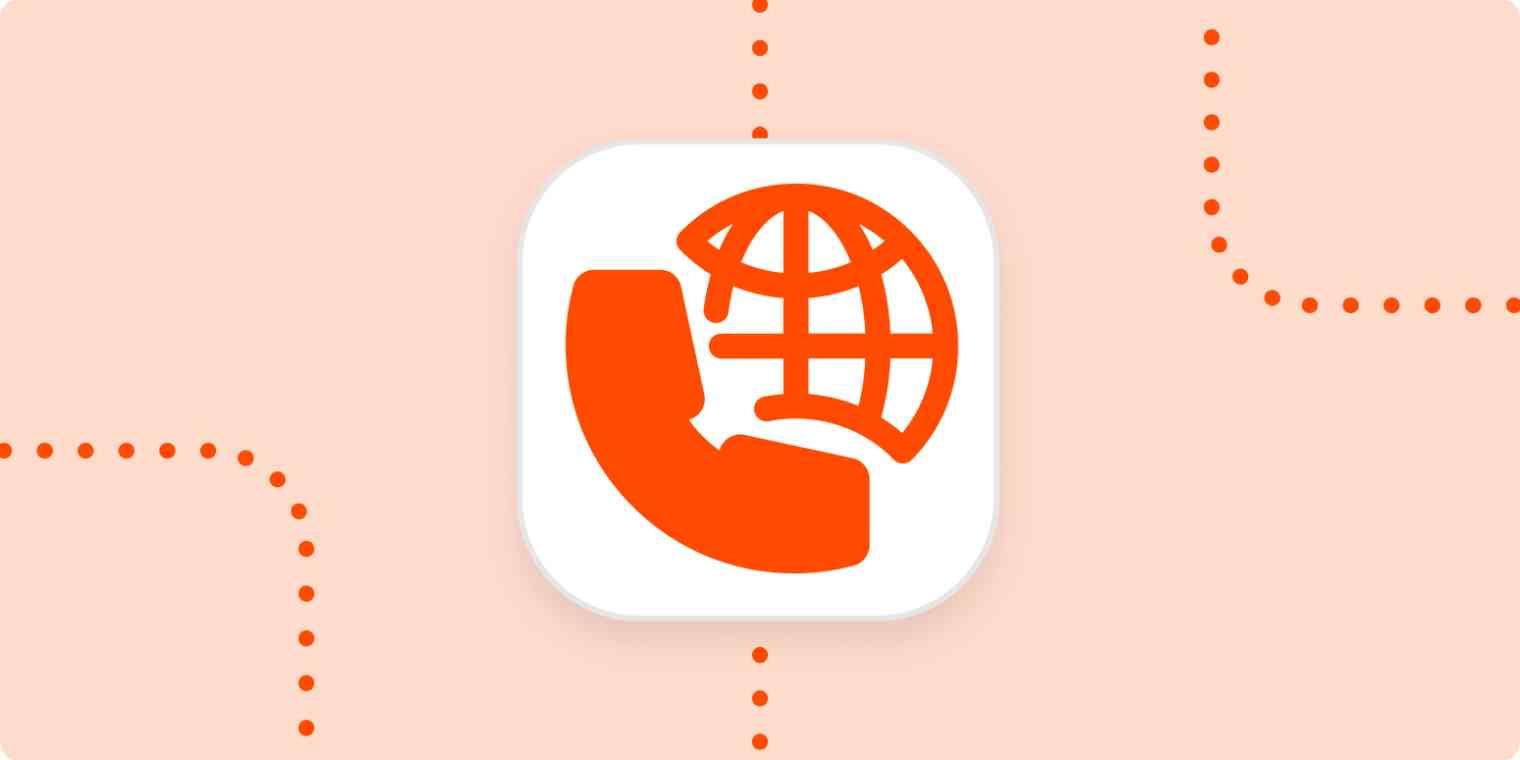 Virtual phone system icon on an orange background.