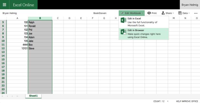 Edit spreadsheet online