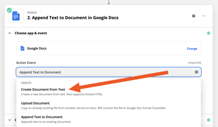 """An arrow pointing to the """"create document from text"""" action in Zapier."""