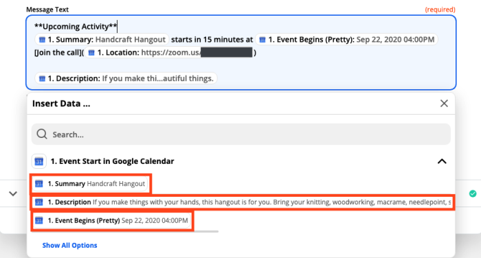 A screenshot of customizing message text in the Zap Editor. Google Calendar data selections are highlighted.