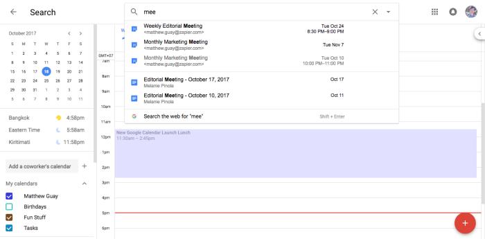 Buscar en Google Calendar
