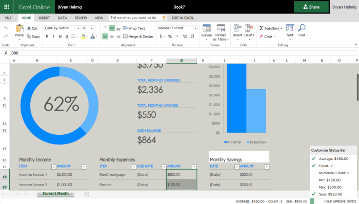 Excel Online Home tab