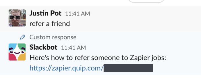 Slackbot reply in action