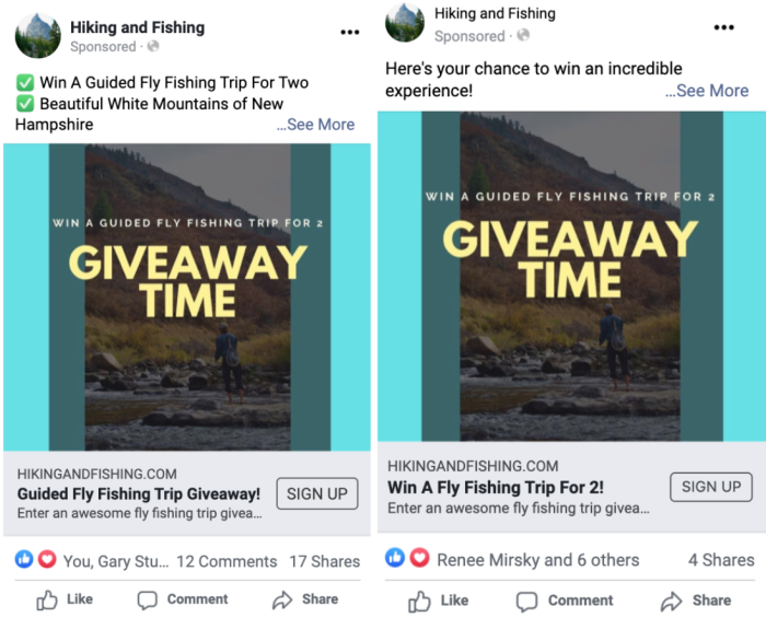"Two similar social media posts, one with green checkmark emoji and the text ""Win a guided fly fishing trip for two"" and ""Beautiful white mountains of New Hampshire"" while the other says ""Here's your chance to win an incredible experience!"""